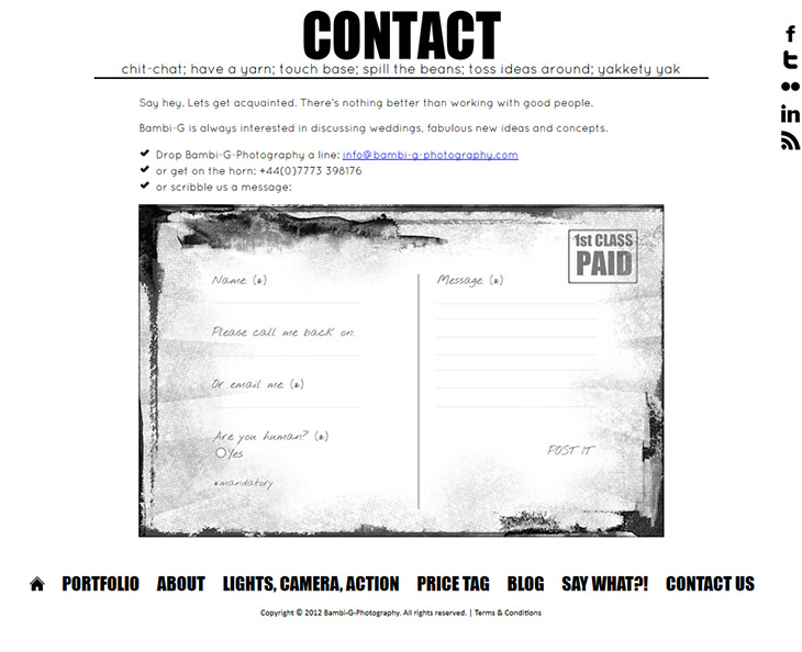 A bespoke design for Bambi G Photography contact form