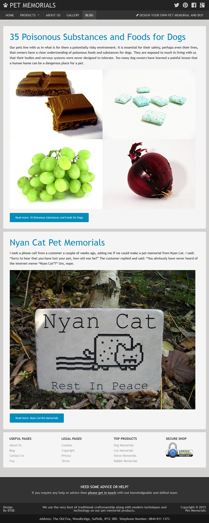 blog designed for pet memorials
