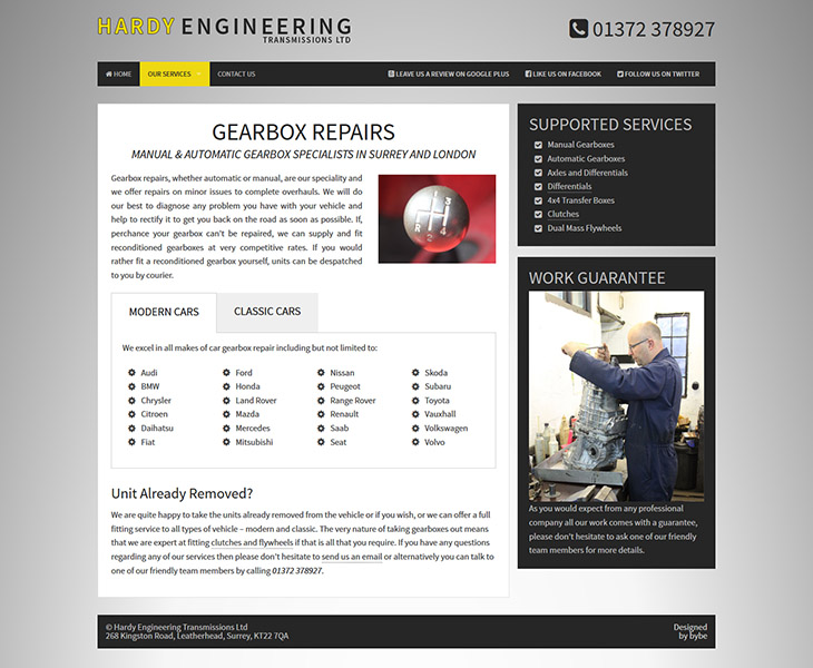 custom design for gearbox repairs page