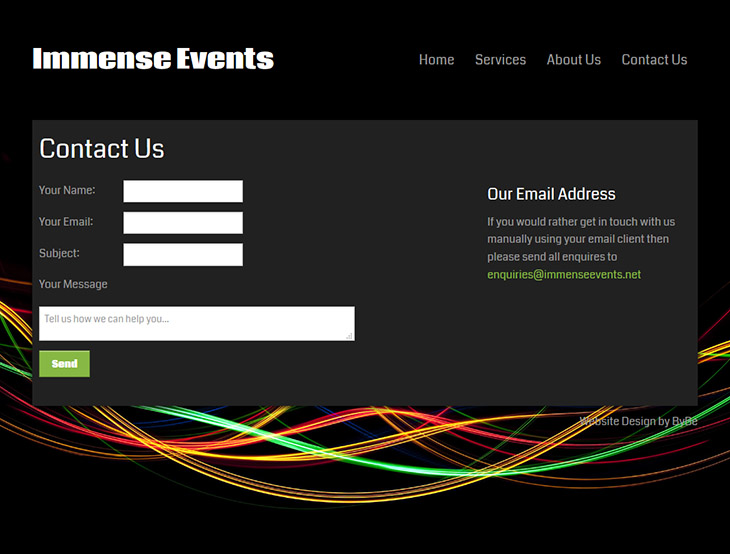 immense events custom contact form