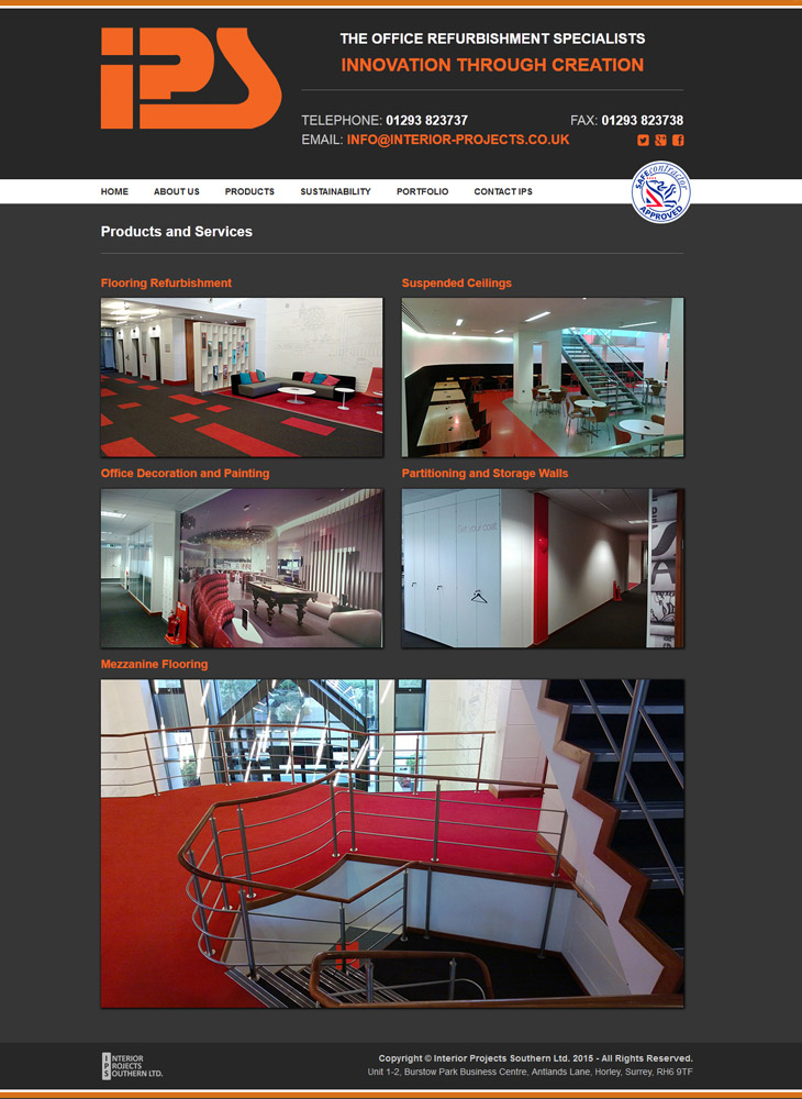 frontpage website design for Interior Projects Southern Ltd