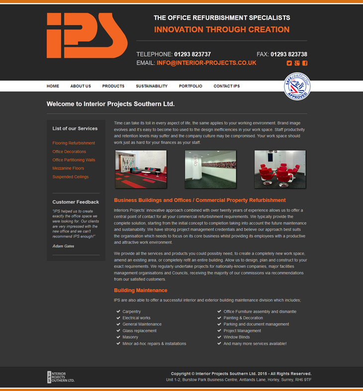 responsive design for Interior Projects Southern Ltd