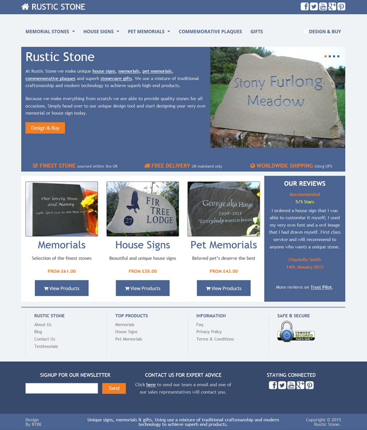 BYBE Website Design and SEO for Rustic Stone