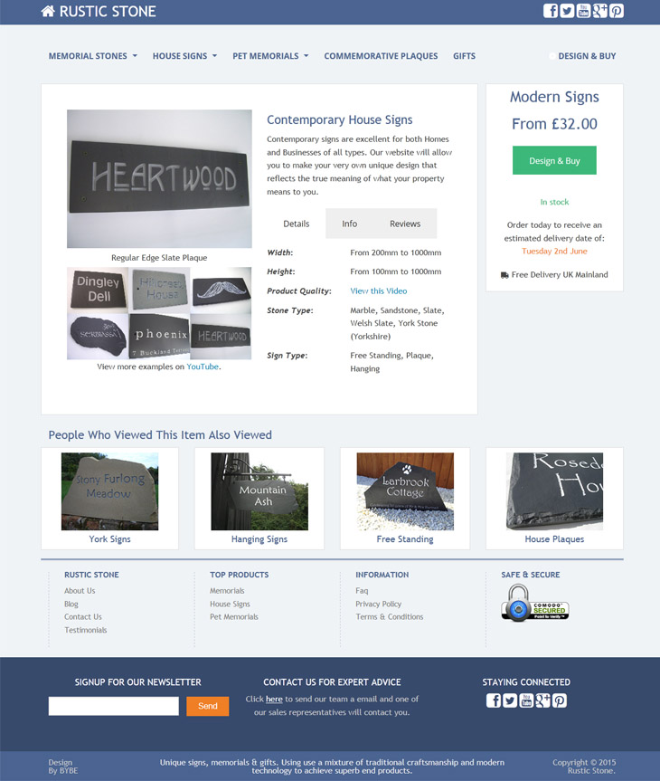 ecommerce design for rustic stone