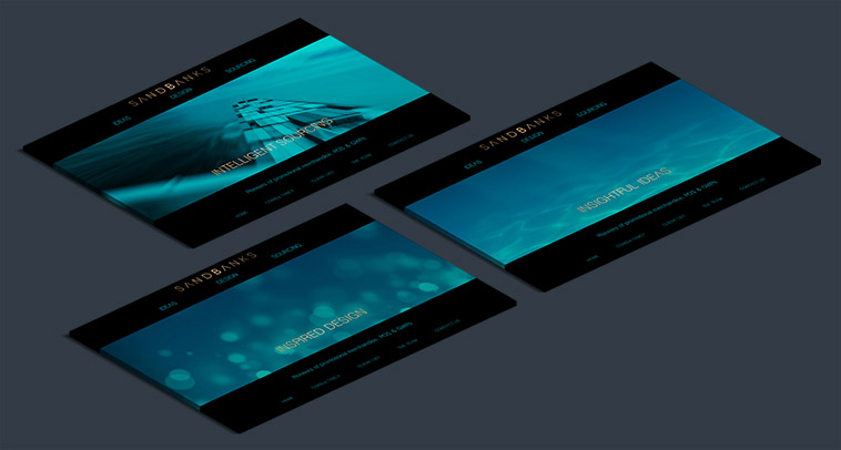 sandbanks perspective homepage design mockup