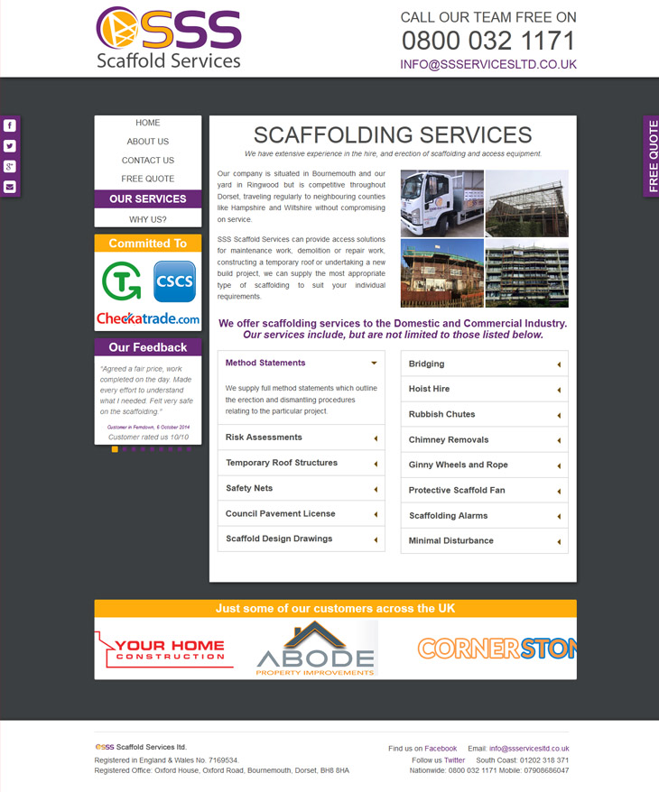 page design for sss scaffold services in bournemouth