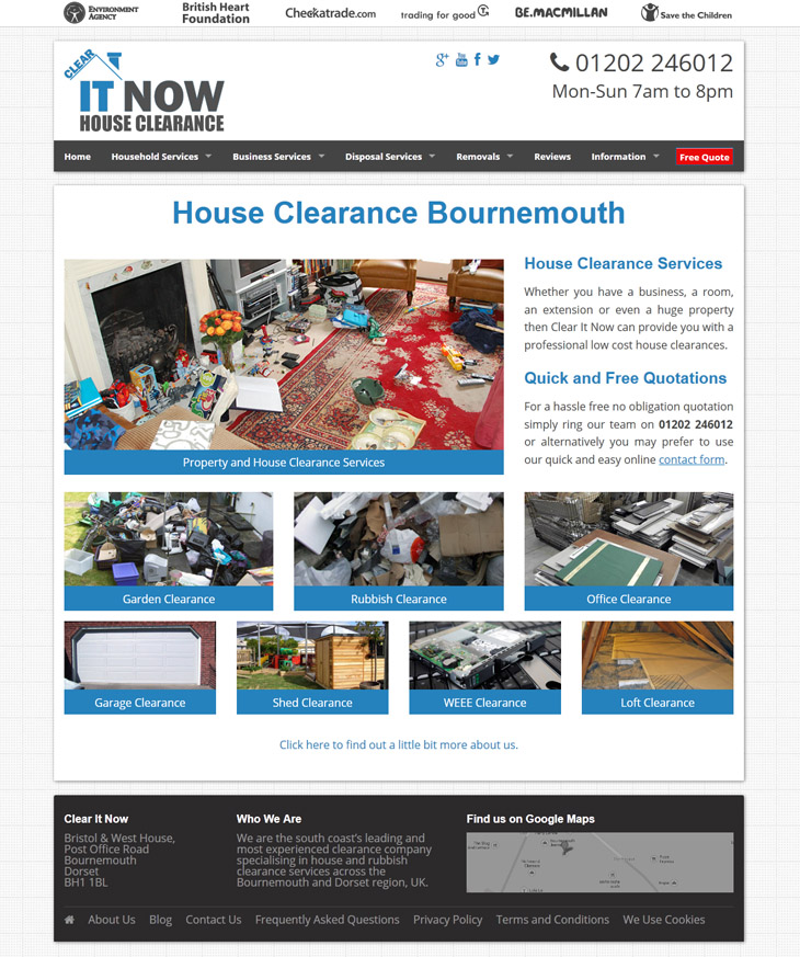 frontpage website design for Clear It Now in bournemouth