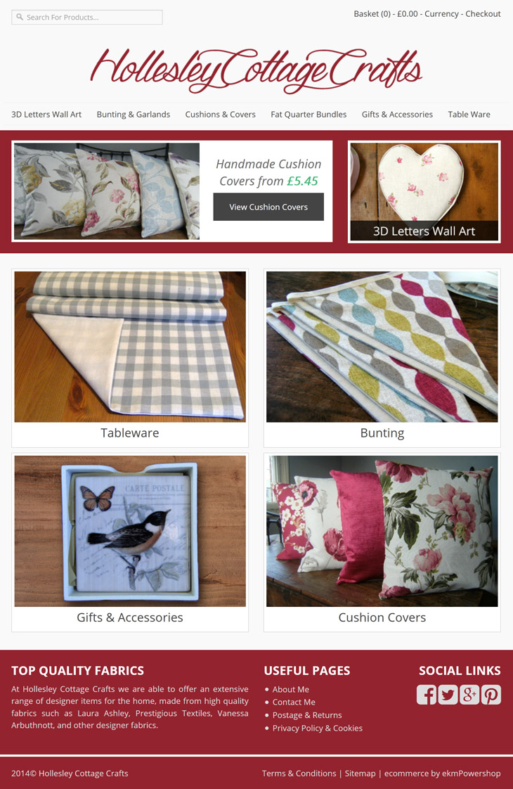 frontpage website design for hollesley cottage crafts