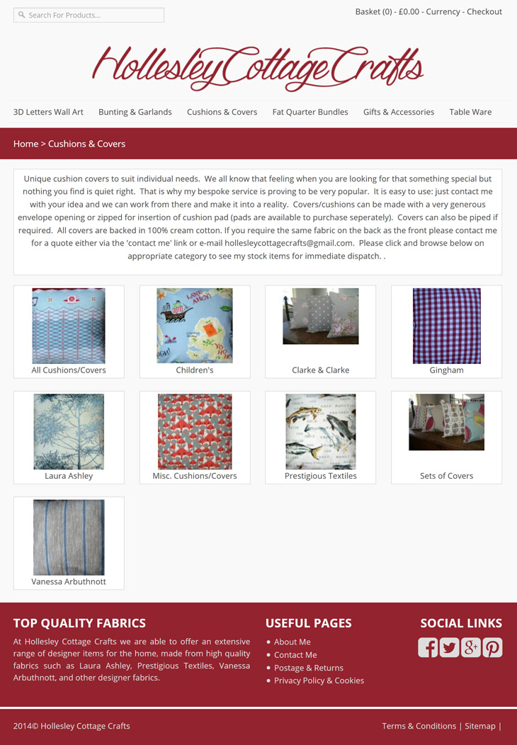 products page design for hollesy cottage crafts