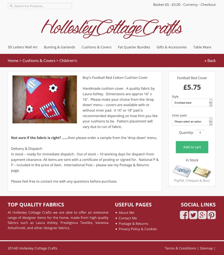 ecommerce shop design for hollesy cottage crafts