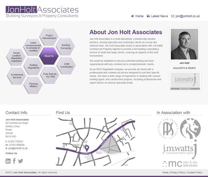website design for jon holt Associates in Poole