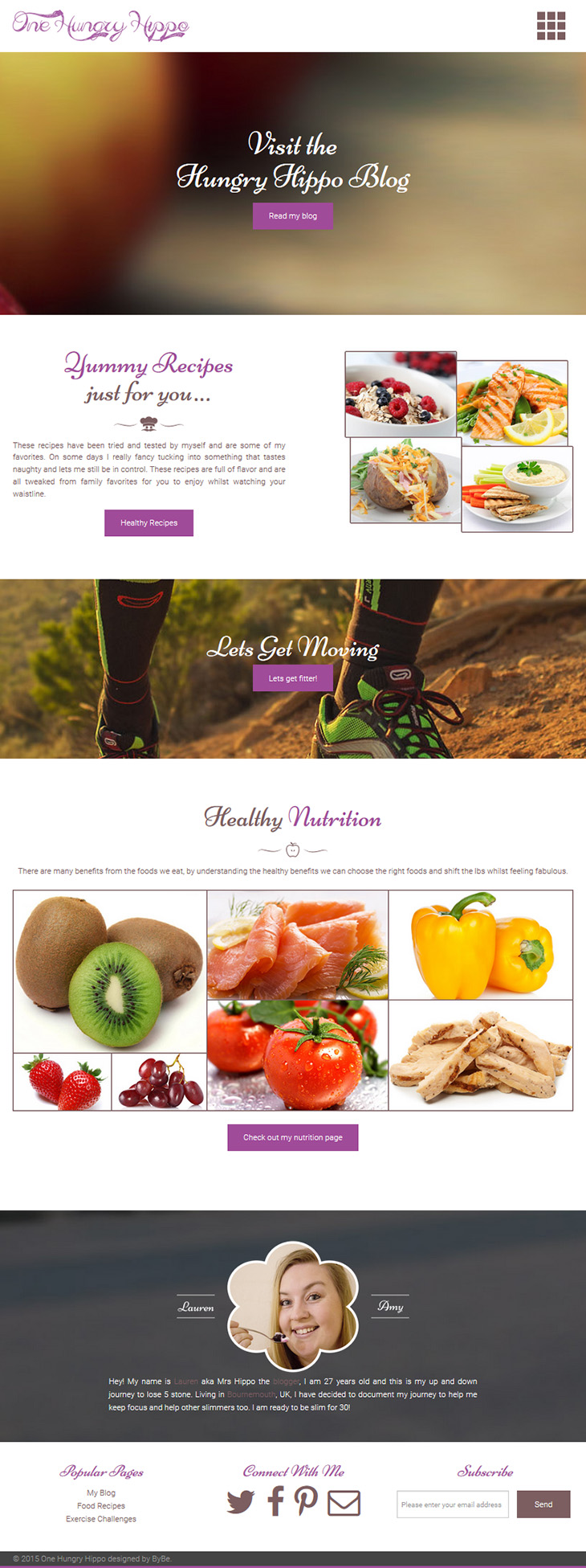 website design for one hungry hippo blog