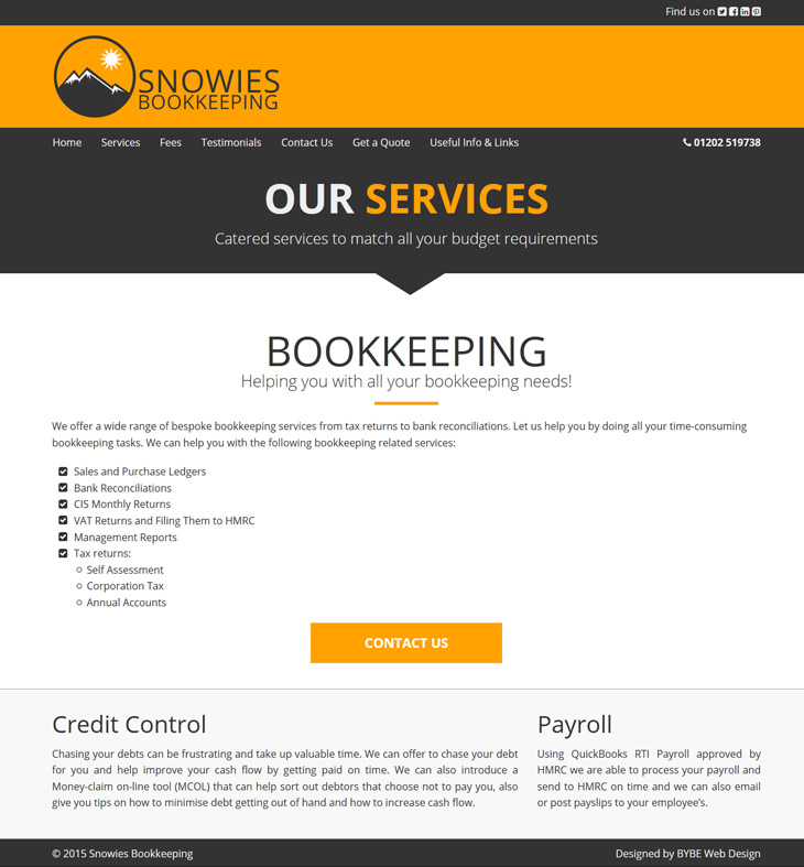 example of the website design we made for snowies bookkeeping