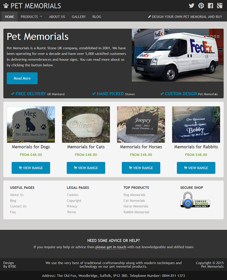 website designed for pet memorials