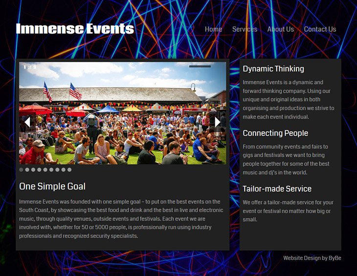 wordpress home page design for immense events