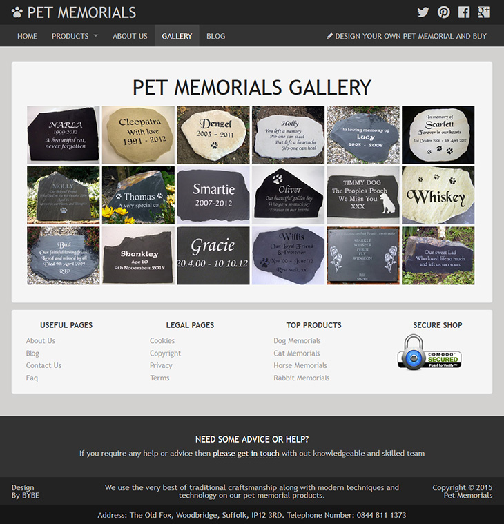 wordpress site designed for pet memorials