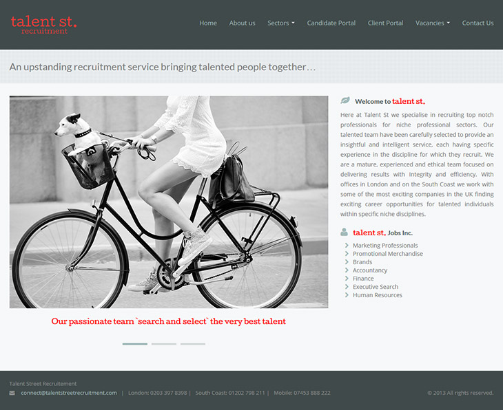 wordpress theme design for talent st recruitment in bournemouth